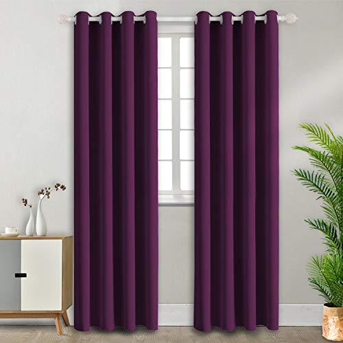 BGment Ösenvorhang Violett Thermovorhang blickdichte Gardine,245 x 140 cm (H x B),2er-Set,Verdunkelungsvorhänge Blickdicht Vorhang mit Ösen für Wohnzimmer