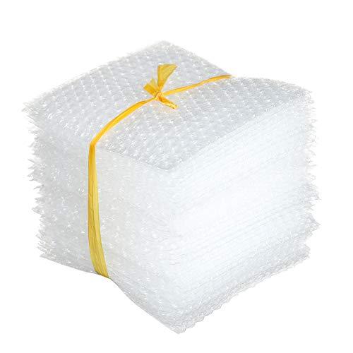 50pcs PE transparente plástico doble película amortiguadora cubre bolsa de burbuja blanca bolsas de embalaje de espuma paquete a prueba de golpes envoltura protectora (18x20cm)