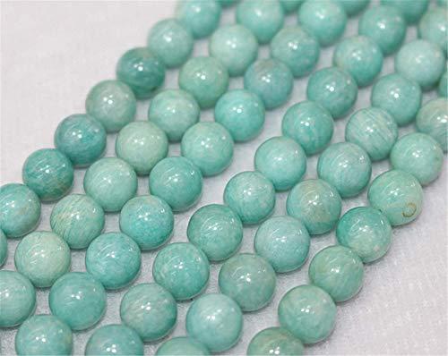 Perles d'amazonite naturelle du Brésil AA - 4 mm, 6 mm, 8 mm, 10 mm, 12 mm - Perles d'amazonite - Vente en gros - Perles (6 mm, 62 pièces)