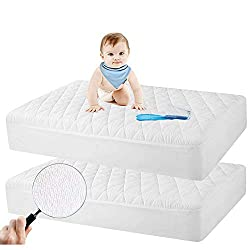 professional Safe and healthy 2-pack protective mattress cover for cribs, waterproof quilted organic bamboo for babies …