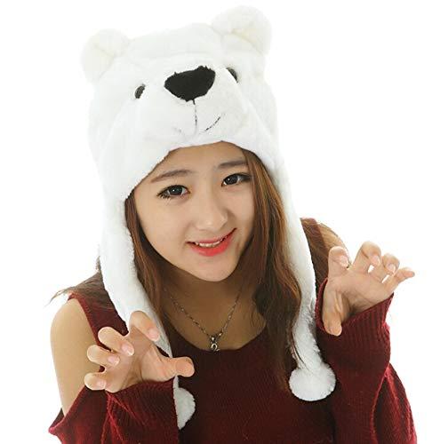 LAAT Sombrero Gorro de Animal con Cubierta de Oreja Accesorios de Cosply Disfraz para Mujer y Niños Gorro de Invierno (Oso Polar)