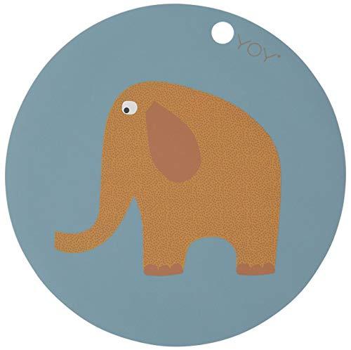 OYOY - Placemat/Platzset - Elefant - Silikon - Blau - Ø 39 cm
