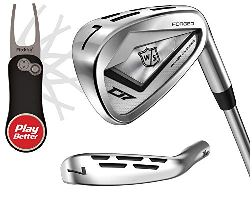 Wilson Staff Men's D7 Forged Iron Set (4-PW) Bundle | Includes PlayBetter Pitchfix Divot Tool | Tour-Level Distance, Power Hole & Power Chamber (4-PW, Steel, Stiff, Right)