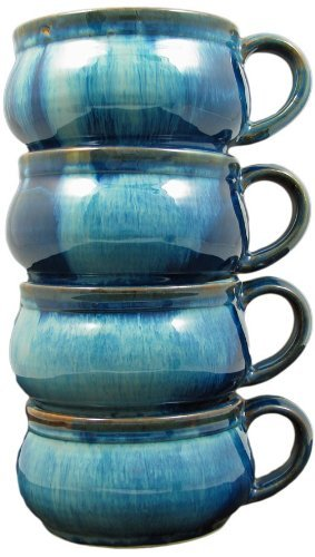 4 Prado Stoneware Stackable Chili Bowls - Royal Blue