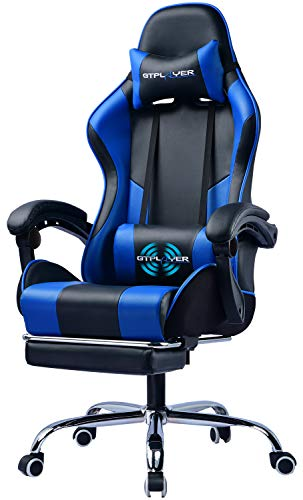 GTPLAYER Gaming Chair with Footrest Ergonomic Massage Office Chair for Adults Adjustable Swivel Leather Computer Chair High Back Desk Chair with Headrest and Massager Lumbar Support, Blue blue chair gaming