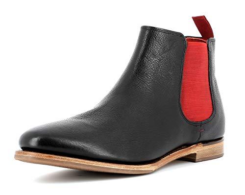 Gordon & Bros. Damen Chelsea Boots Paris 5770,rahmengenähte,Flexible Frauen Stiefel,Halbstiefel,Stiefelette,Bootie,Goodyear Welted,Schlupfstiefel,Black/RED,EU 37