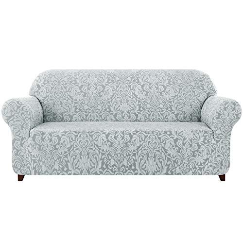 subrtex 1-Piece Damask Sofa Slipcover 1,2,3 Seater Jacquard Sofa Cover High Elastic Stretch Furniture Protector (XL Sofa, Light Grey)