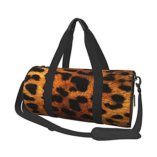 Bolsa de deporte para gimnasio, con estampado de leopardo, redonda, ligera, duradera, con compartimento para zapatos y bolsillo húmedo para mujeres o hombres