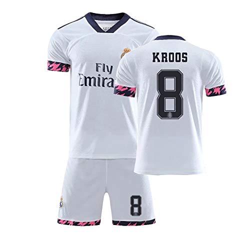 FUNBN Für Sergio 4 Kroos 8 Hazard 7 Modric 10,20-21 Saison Kinderfußballuniformen, Herrenfußballuniformen, weich und bequem, können wiederholt gewaschen Werden-8#-XL(180~190cm)