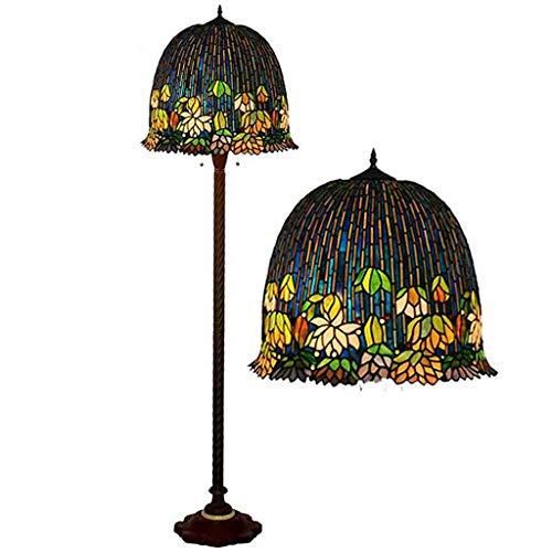 Lámpara de pie de estilo Tiffany de 18 pulgadas, pintura de cristal, Wisteria Shade, 2 luces, base antigua, lámpara de pie para dormitorio, salón, lámpara de lectura