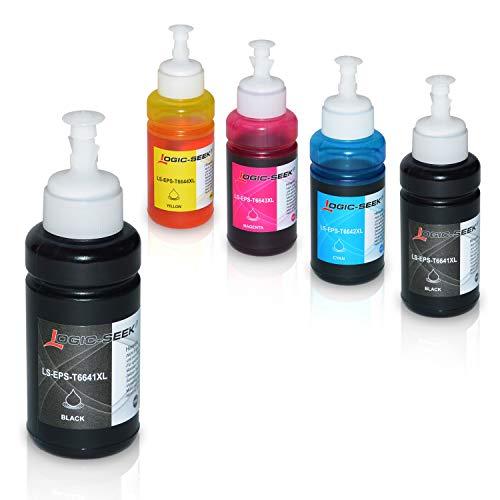5 Tinten kompatibel für Epson EcoTank L300 L350 L355 L365 L455 L550 L555 L565 L655 L100 L200 ET2550 ET2500 ET4500 ET4550 T6641 T6642 T6643 T6644, je 70ml