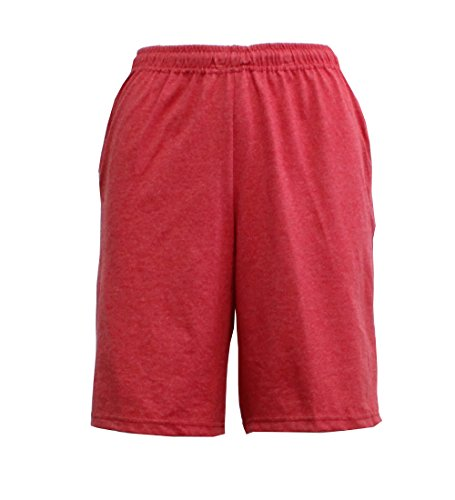 Fruit of the Loom Men's Jersey Short (Large, True Red Heather)