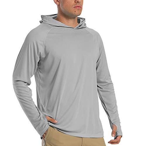 Langarm Shirt Herren Sports Camping Hemd UV Schutz T-Shirts Sommer Sweatshirts Strandhemd Herren Sun Protection Hoodie Outdoor Trekking Shirts Schnelltrocknend Surf T-Shirts UPF 50+ Shirt Grau Grey