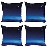 ABAKUHAUS Noche Set de 4 Fundas para Cojín, Estrellas de la Luna de Santa Bárbara, Estampado Digital en Ambos Lados y Cremallera, 45 cm x 45 cm, Azul Cielo Azul Oscuro Blanca