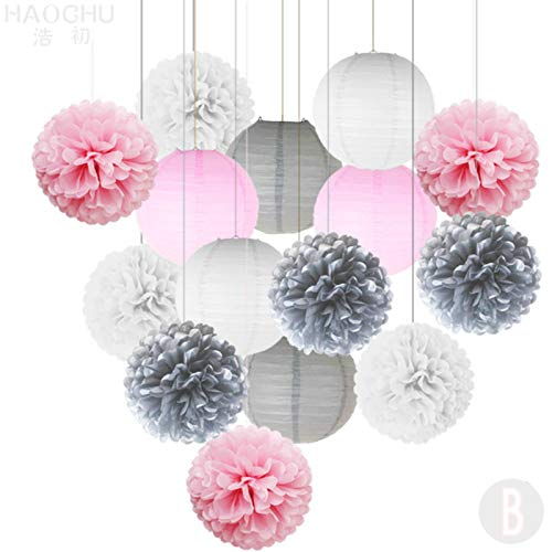 Party Paper Decorations 9Pcs Paper Pom Poms Tissue Flower Balls Mixed 6Pcs Hanging Paper Lantern Decoration Set Holiday Wedding Birthday Party DIY Decor