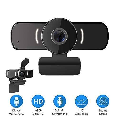 LarmTek Webcam für PC,1080P Webcam mit Webcam-Abdeckung,USB-Computerkamera mit integriertem Mikrofon für Live-Streaming-Spiele für Videokonferenzen