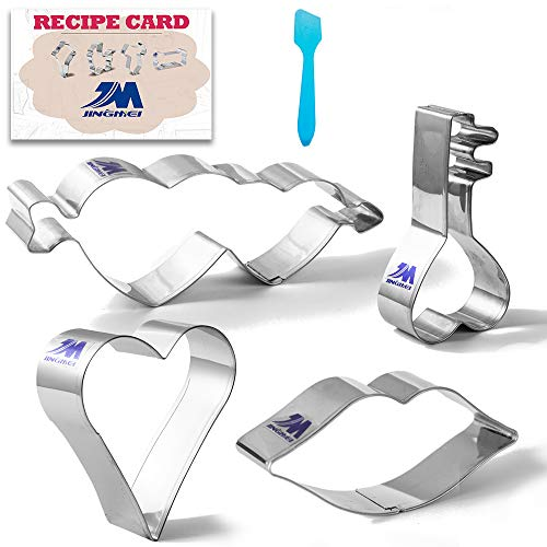 Valentine's Day/Celebration of Love Cookie Cutter Set with recipe 4 pcs Heart, Lips, Key, Double Heart With Arrow Cupid's, Biscuit Pastry Cutters -Stainless Steel