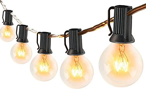 Lichterkette Außen 30er Glühbirnen, 8M Lichterkette Garten wetterfeste, G40 Lichterketten Innen/Aussen als Deko für Balkon Grillparty, Warmweiß