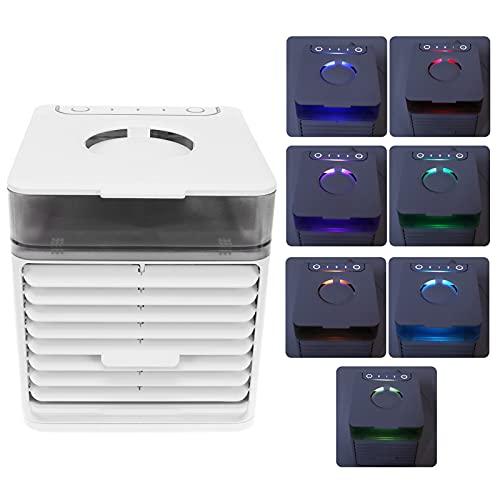 Mini Aire Acondicionado, Ventilador 7 Colores LED del Ventilador del refrigerador de Aire para la aromaterapia