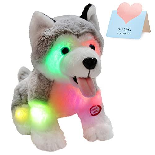 Athoinsu Light up Stuffed Husky Puppy Dog Soft Plush Toy with Magic LED Night Lights Valentine's Day Birthday for Toddler Kids, 8''