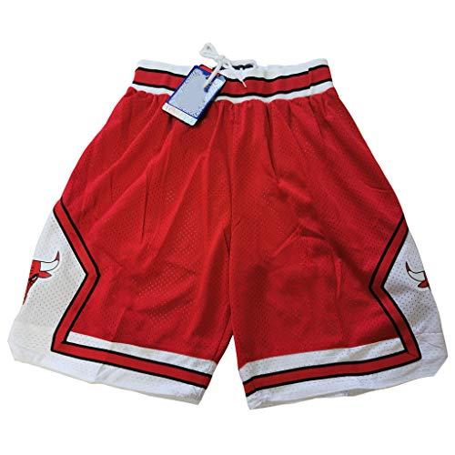 Chicago Bulls Shorts für Herren, Classic Vintage Red Basketball Shorts, Laufshorts Gym Yoga Workout Elastic Waist Athletic Casual Sports-XL