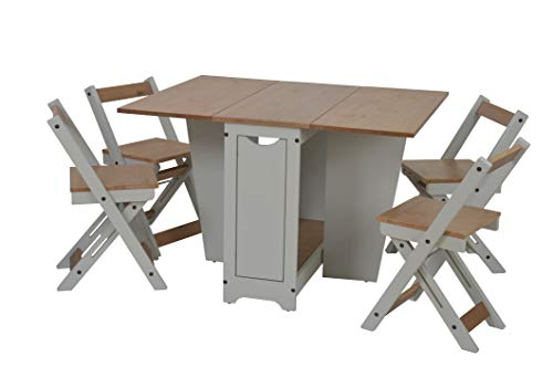 Furniture 321 Santos Folding Drop Leaf Butterfly Dining Set 4 Chairs Pine & Grey
