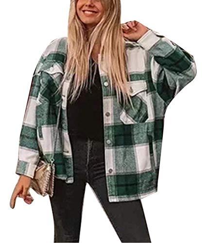 ORANDESIGNE Grün Weiße Kariertes Taschen Knöpfen Langarm Oversize Bluse Mantel Hemdjacke Holzfällerjacke Damen Mode