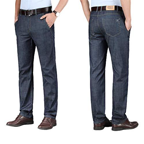 Pantalones Vaqueros para Hombre Pantalones Vaqueros Casuales de Negocios elásticos Finos de Verano Pantalones Vaqueros Sueltos de Pierna Recta Simples y versátiles 30