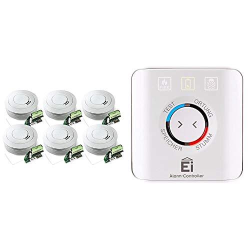 Ei Electronics Ei650RF 10-Jahres-Funkrauchwarnmelder, weiß, 6 Stück + Einknopf-Fernbedienung für Rauchwarnmelder, Ei450