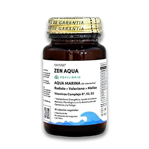 Complejo Multivitamínico a base de sales minerals marinas  Vitaminas B1, B3, B9, B12, D3, K2, Rodiola, Valeriana y Melisa  Para sistema nervioso, disminución del cansancio y fatiga   Zen Aqua