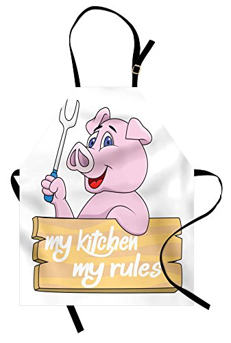Lunarable Pig Apron, Pig Chef BBQ Barbeque Fork Tongs Fast Food Mascot Character Grill Wood Menu Theme Print, Unisex Kitchen Bib with Adjustable Neck for Cooking Gardening, Adult Size, White Pink