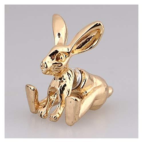 LZZR 1 par de Pernos de Oreja Animal Lindos 3D (Color : Gold Rabbit)