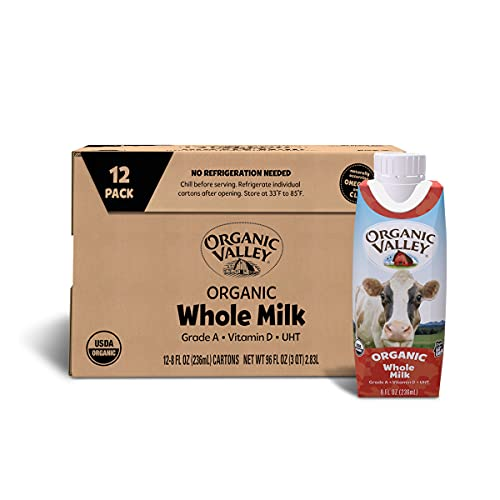 Organic Valley Whole Shelf Stable Milk  Resealable Cap  8 Oz  Pack of 12