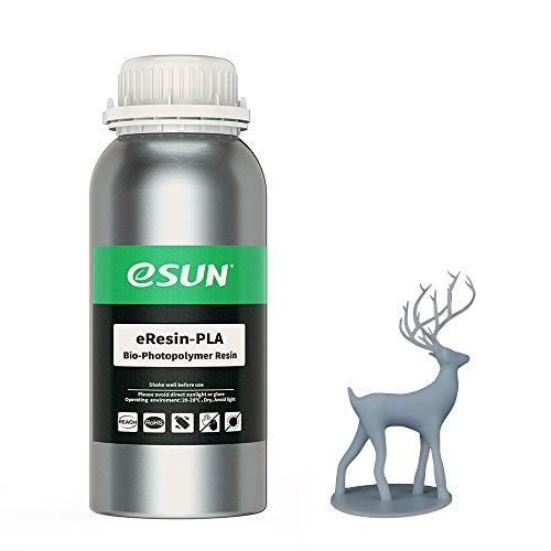 eSUN 405nm LCD 3D Printer Rapid Resin UV Curing Resin PLA Plant-Based Rapid Resin Biodegradable Resin Photopolymer Resin for Photon UV Curing LCD 3D Printer, 500g Grey