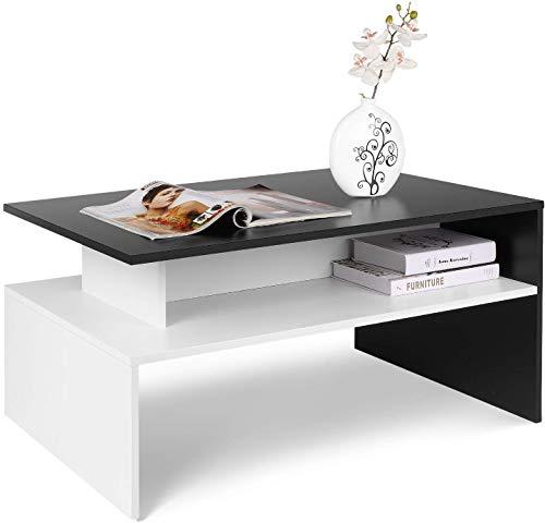 Homfa Mesa Centro Salón Mesa de Café Mesa Madera Mesa Auxiliar con 2 Estantes Blanco y Negro 90x50x43cm ⭐
