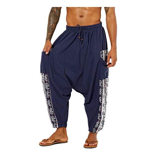 MY Household Pantalones Harem Unisex con Bolsillo para Hombre Pantalones Holgados Bloomers Pantalones Casuales de Talla Grande Vendaje elástico Aladdin Pantalones con Estampado Retro(Azul Marino,M)