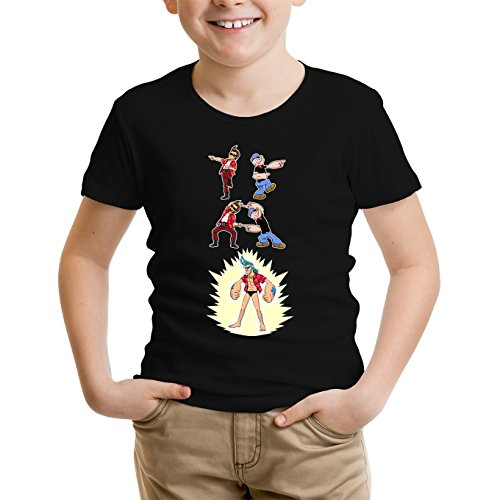 T-Shirt Enfant Noir One Piece - Popeye parodique Franky, Ace Ventura et Popeye : Fusion YAHAAAAA !!! (Super Splendide :) (Parodie One Piece - Popeye)