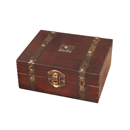 JJZXD Hölzerne Vintage-Schatz-Schatz-Brustschmuck-Aufbewahrungs-Aufbewahrungsbox Fall Organizer Ringgeschenk Faltbare Mini-Holzkiste Schmucksachen