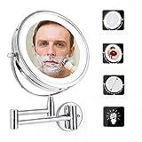 CTEGOOD Miroir Grossissant Lumineux Mural X5, 7 Pouces Double Face LED Miroirs de Maquillage, 360°Pivotant, Miroir de Rasage pour Femmes Enceintes, Myopes, Personnes de Beauté