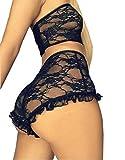 Women Sexy Lace Lingerie Nightwear Two Piece Babydoll Bra Panty Underwear Set (M, Black)