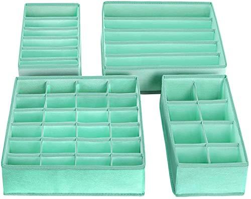 Onlyup 4 unidades de armario organizador cajones plegable caja de almacenamiento de tela para sujetadores, ropa interior, calcetines, corbatas, organizador de Drawer Divider Cubes Container (verde)
