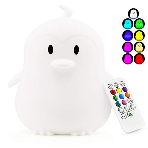 Large Kids Night Light Nursery Lamp - USB Rechargeable Animal Silicone Lights with Touch Sensor and...