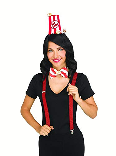 shoperama 3-teilige Kostüm-Zubehör Set Candy Zuckerwatte Popcorn EIS-Tüte Haarreif Fliege Hosenträger Glitzer Süßigkeiten, Variante:Popcorn