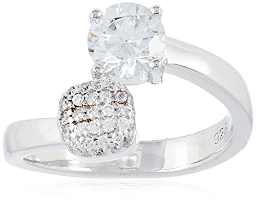 Esprit Damen-Ring Composition 925 Silber rhodiniert Zirkonia weiß Brillantschliff