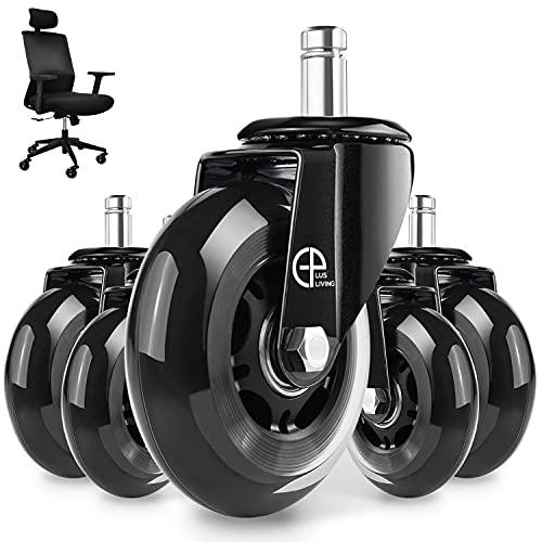 EPLUS LIVING roulettes Chaise de Bureau 5pcs, 11x22 mm Roulette Fauteuil Bureau Roulement Agréable et Silencieux 360° Rotation Protéger Le Sol Résistantes à l'abrasion(Max Charge de capacité 250kg)