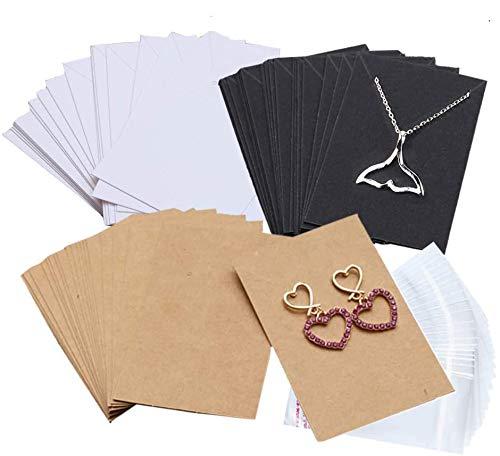 Amajoy 360 tarjetas de exhibición de collar y pendientes con 360 bolsas autosellables para pendientes, pendientes, colgantes, collares, 3 colores, marrón, blanco y negro