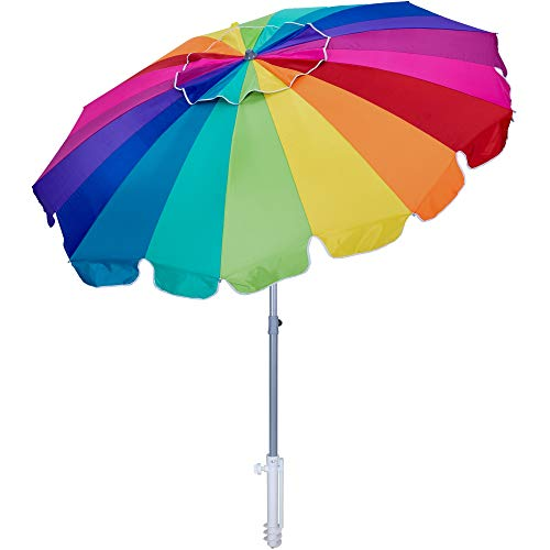 AMMSUN 7.5ft Beach Umbrella with sand anchor & Tilt Sun Shelter, UV 50+ Protection Outdoor Sunshade Umbrella with Carry Bag for Garden Beach Outdoor (Rainbow)