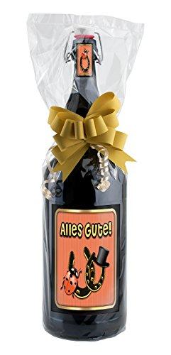 Alles Gute - 3 Liter XXL-Flasche Bier mit Bügelverschluss in schöner Geschenkfolie und Schleife verpackt als Geschenk