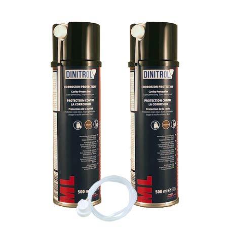 Dinitrol ML penetrierendes Hohlraumwachs, 4x 500ml, Aerosol-Spraydosen mit je 600-mm-Verlängerungsdüse