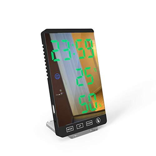 TaoToa Reloj despertador digital, pantalla LED, superficie de espejo con modo de atenuación automática, humedad de temperatura para oficina en casa